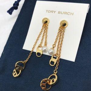 Tory Burch gold tone logo pearl drop earrings